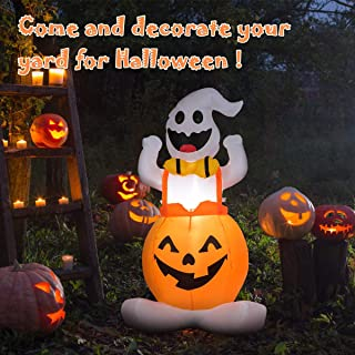 Tangkula 4.5 Ft Halloween Blow-up Inflatable Ghost in Pumpkin, Self Inflating Ghost with Internally LED Bulb 190T Polyester Cloth & Waterproof Fan, Convenient Storage & Easy Handling