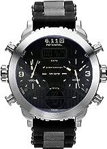 Men Watch Stainless Watch Quartz Sport 49MM Rubber Strap Movement Alarm Digital Blue Best Gift for Friends Lovers Family