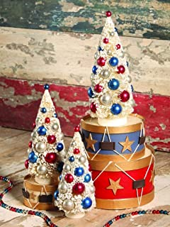 Bethany Lowe Grand Old Flag Collection Bottle Brush Trees Fourth of July Americana Red White Blue, Set of 3