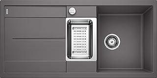 BLANCO METRA 6 S – Rechteckige Granitspüle aus SILGRANIT für die Küche – für 60 cm breite Unterschränke – Mit Restebecken und Edelstahlschale – grau – 518877