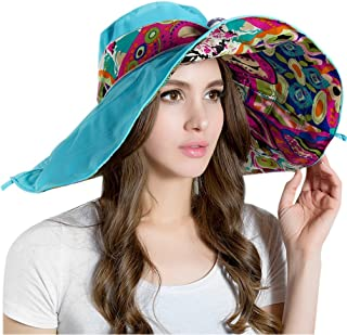 Dasior Summer Beach Wide Floop Brim Foldable Sun Hat Bohemia Cap Visor UPF 50+ Blue