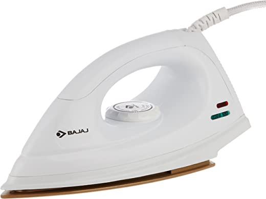 Bajaj DX-7 1000W Dry Iron with Advance Soleplate and Anti-bacterial German Coating Technology, White