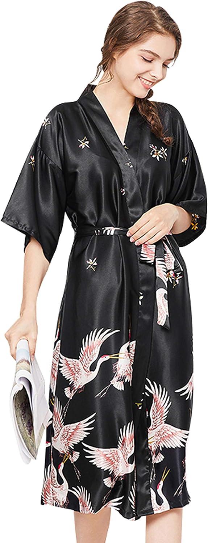 Women Kimono Blossoms Sleep Lounge Silk Bride Bridesmaid Sleepwear Robe