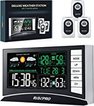 RISEPRO Weather Station, Wireless Weather Station with 3 Sensors in/Out Temperature and Humidity Alarm Clock Calendar Weat...