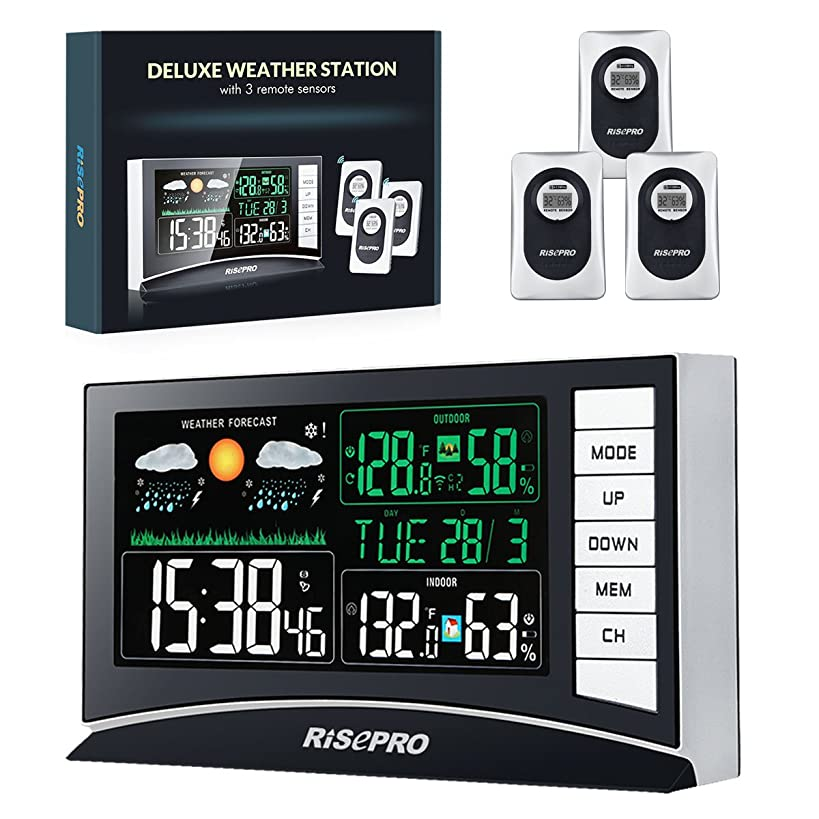RISEPRO Weather Station, Wireless Weather Station with 3 Sensors in/Out Temperature and Humidity Alarm Clock Calendar Weather Forecaster with Color Led Display, Main Unit Size: 6.49 3.74 1.18