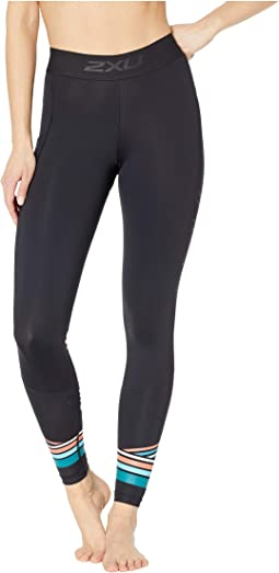 eb70cb6cc1 2XU. Accelerate Compression Tights w/ Storage. $104.95. Black/Sherbert Teal  Stripe