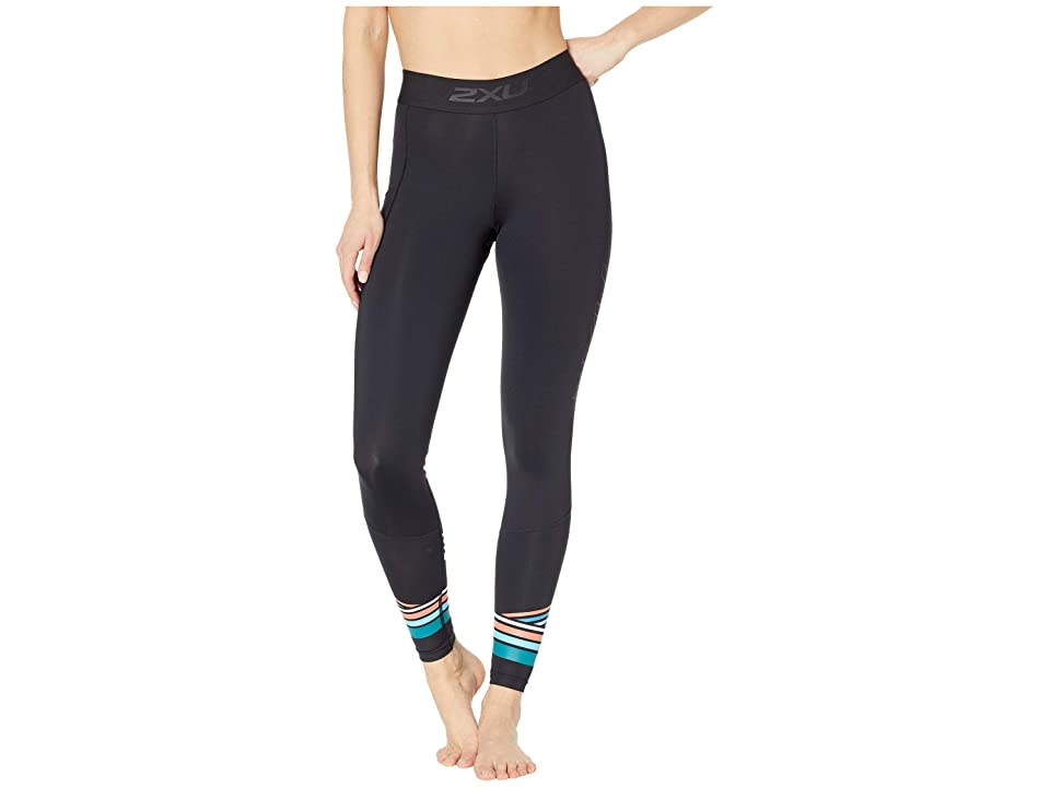 Image of 2XU Accelerate Compression Tights w/ Storage (Black/Sherbert Teal Stripe) Women's Casual Pants