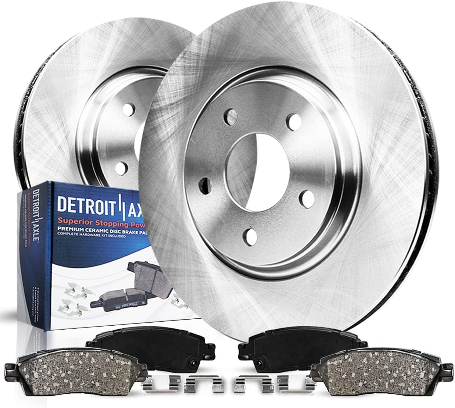 Detroit Axle - Front [並行輸入品] Brake Kit w Clips 5☆好評 Ceramic Rotors Pads Har