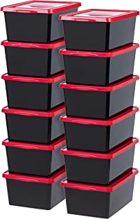 IRIS USA, Inc. Lot de 12 boîtes de rangement Noir 17 l