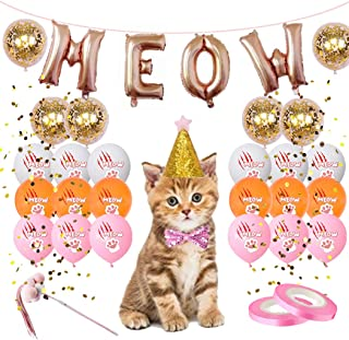 30pcs cat ballooncat Rose Gold letter Meow Party Decorations Kit Include Gold Confetti Balloons, Meow Cat Claw Latex Balloons,Animal Birthday Adjustable Hat and Bow,Pink Ribbon, Cat Interactive Stick toy
