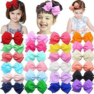 24 Colors Boutique Grosgrain Hair Bows Alligator Clips...