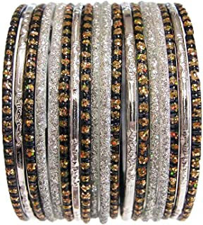 Indian Glass Bangles Tribal BoHo Costume Jewelry Bracelet Silver