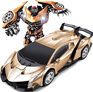 SURPASS Remote Controlled Transformation Robot Shape-Shift Action Figure, Remote Control Action Figure Model Car Toy for Kids (Veneno Golden)