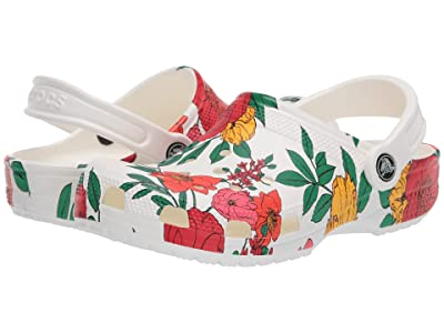Crocs Classic Printed Floral Clog (White/Floral) Women