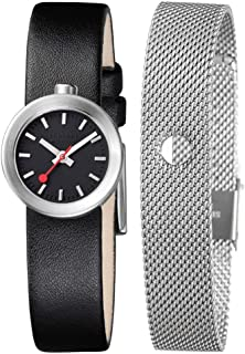 Mondaine Outdoor Watch Women (A666.30324.14SBB) Swiss Made, Black Leather Strap, Silver Stainless Steel Case, Black Face, Silver Hands & Numbers