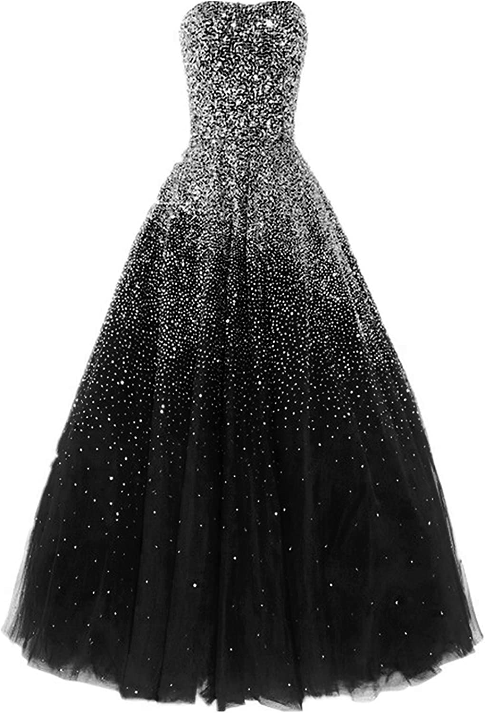 Ellystar Women's ALine Beading Sweetheart New with Rhinestones Evening Dresses