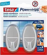 Tesa 58063-00001-01 Groot, ovaal, mat verchroomd, 2 haken + 4 strepen, mat