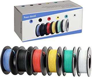 Hook-up Stranded Wire 24 AWG with UL3132, Nano Shield 6 Colors (26ft Each) Flexible 14 Gauge Silicone Wire Rubber Insulated Electrical Wire, 300V Tinned Copper Electric Cable for DIY