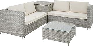 TecTake 800678 Salon de Jardin 4 Personnes en résine tressée, 2 Canapés modulables, Coffre de Rangement et Table Basse en ...