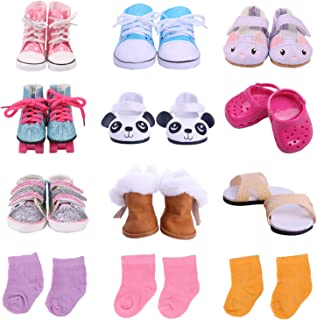 TIANMI 9 Pairs of Shoes + 3 Pairs of Socks Fits for 18 Inch Doll Shoes American Dolls Accessories - Including Panda Shoes,Boots,Skates and More