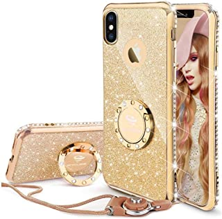 Cute iPhone Xs Case, Cute iPhone X Case, Glitter Luxury Bling Diamond Rhinestone Bumper with Ring Grip Kickstand Protective Thin Girly Pink iPhone Xs Case/iPhone X Case for Women Girl - Gold
