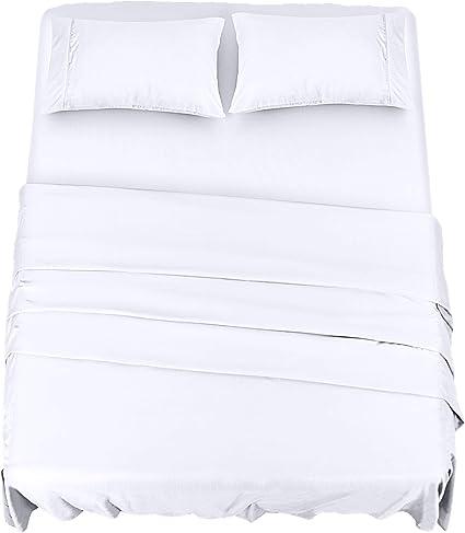 Utopia Bedding Completo Lenzuola Letto Spazzolata Microfibra Lenzuola E Federe Bianca Double Una Piazza E Mezza Amazon It Casa E Cucina