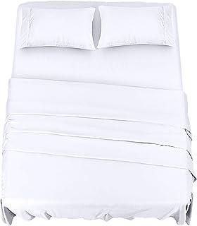 comprar comparacion Utopia Bedding Juego Sábanas de Cama - Microfibra Cepillada - Sábanas y 2 Fundas de Almohada - (Cama 150, Blanco)