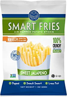 Gourmet Basics Smart Fries Sweet Jalapeno - Air Popped Low Fat Snacks - Gluten Free, Low Fat, non-GMO - Reduced Fat Potato Chips Straws Veggie Crisps (Pack of 24)
