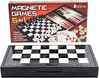 5 in 1 Magnetic Travel Chess Set 9.8 x 9.8 inches with Checkers, Dominoes, Backgammon, Playing Cards