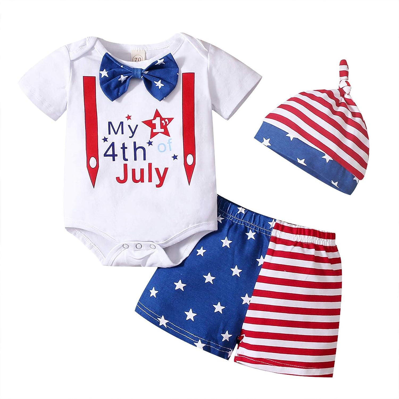 Newborn Infant Baby Boy 4th of July Shorts Romper Set+Stars Stripe Short American Flag 2Pcs Summer Clothes (white, 6-12 Months)