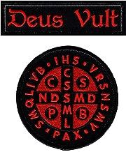Deus Vult Saint Benedict Cross Crusader in God Wills Hook Fastener Patch (Bundle-2pc)