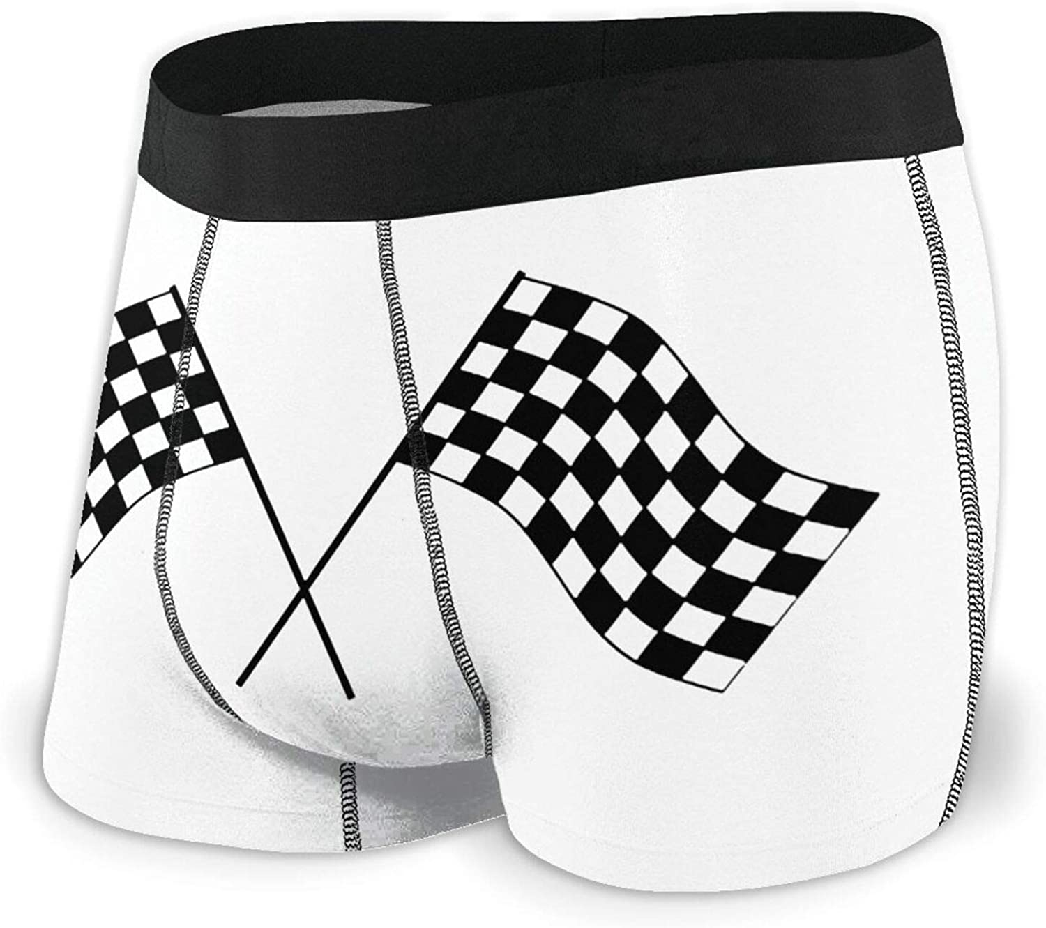 In stock TZT Checkered Flags Race Car Flag Men's Boxer Briefs Very popular Breathable