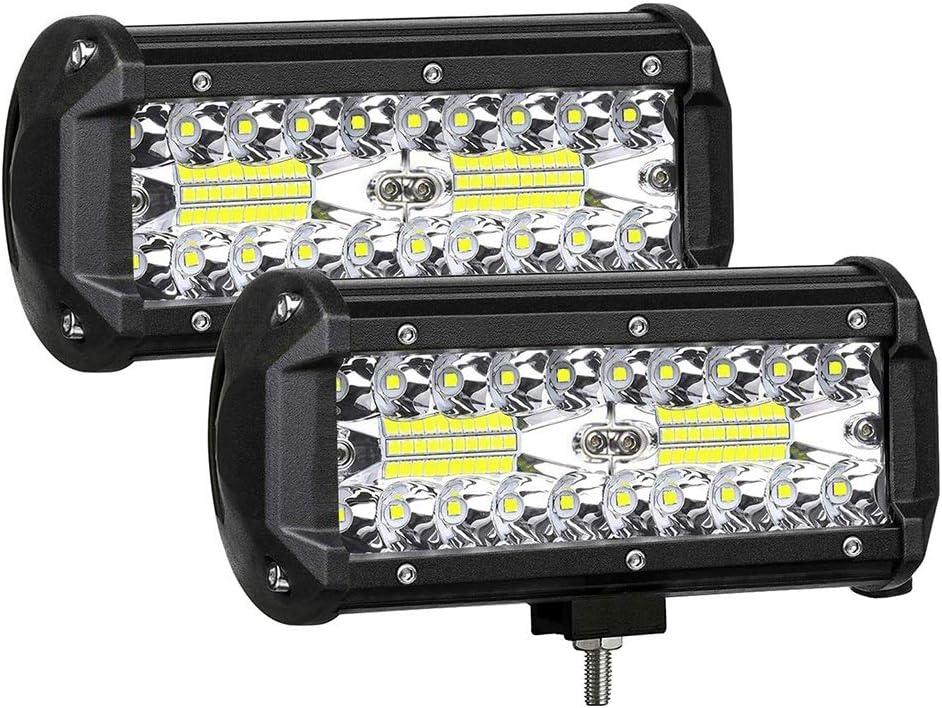 GXYNB Barra de luz LED de 7 Pulgadas, Luces sumergibles para Todo Terreno, luz antiniebla, LED luz de Trabajo Spot Flood 240W para camión, Remolque, Bote, RV, ATV, Jeeps, 2 Piezas