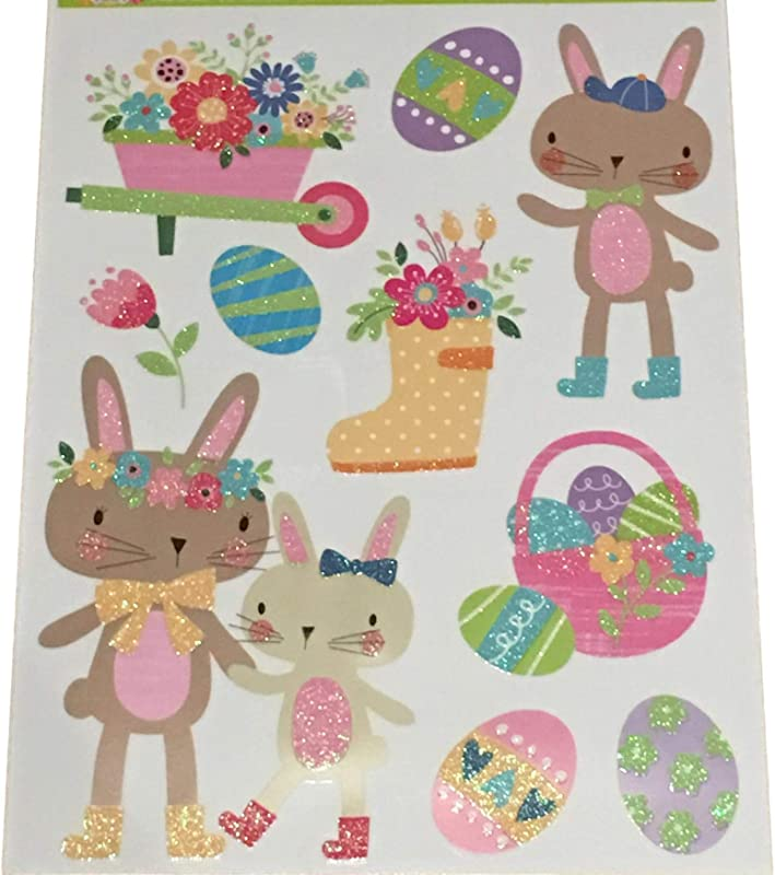 Plum Nellie S Treasures Easter Window Decals Glitter Stickers Easter Spring Decorations Bunnies Eggs Chicks Truck Of Carrots Happy Easter Bunny Egg Hunt