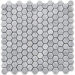 Stone Center Online Carrara White Italian Carrera Marble Hexagon Mosaic Tile 1 inch Honed