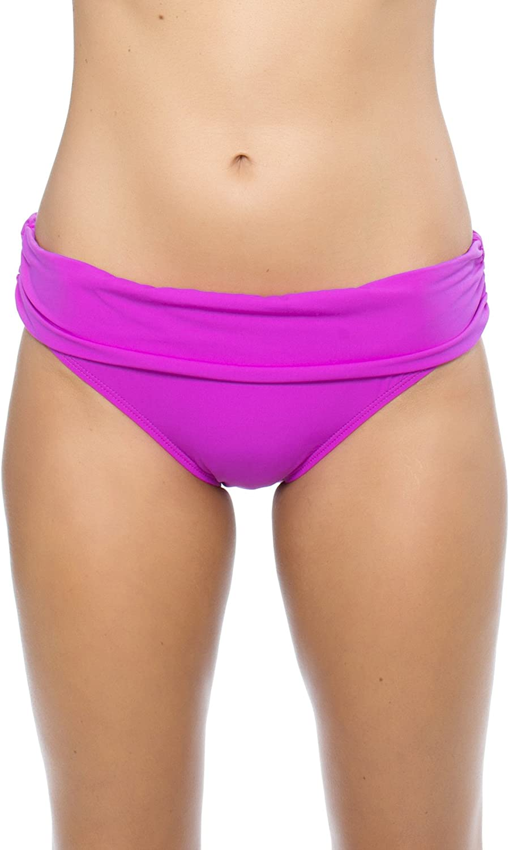 Athena - Cabana Solids Banded Bikini Bottom - Raspberry