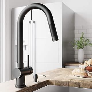 VIGO VG02008MB Gramercy 17 Inch Single Handle Pulldown Arc Brass Kitchen Sink Faucet, Single Hole Install, 360 Swivel Spout, Premium Seven Layer Plated Matte Black Finish
