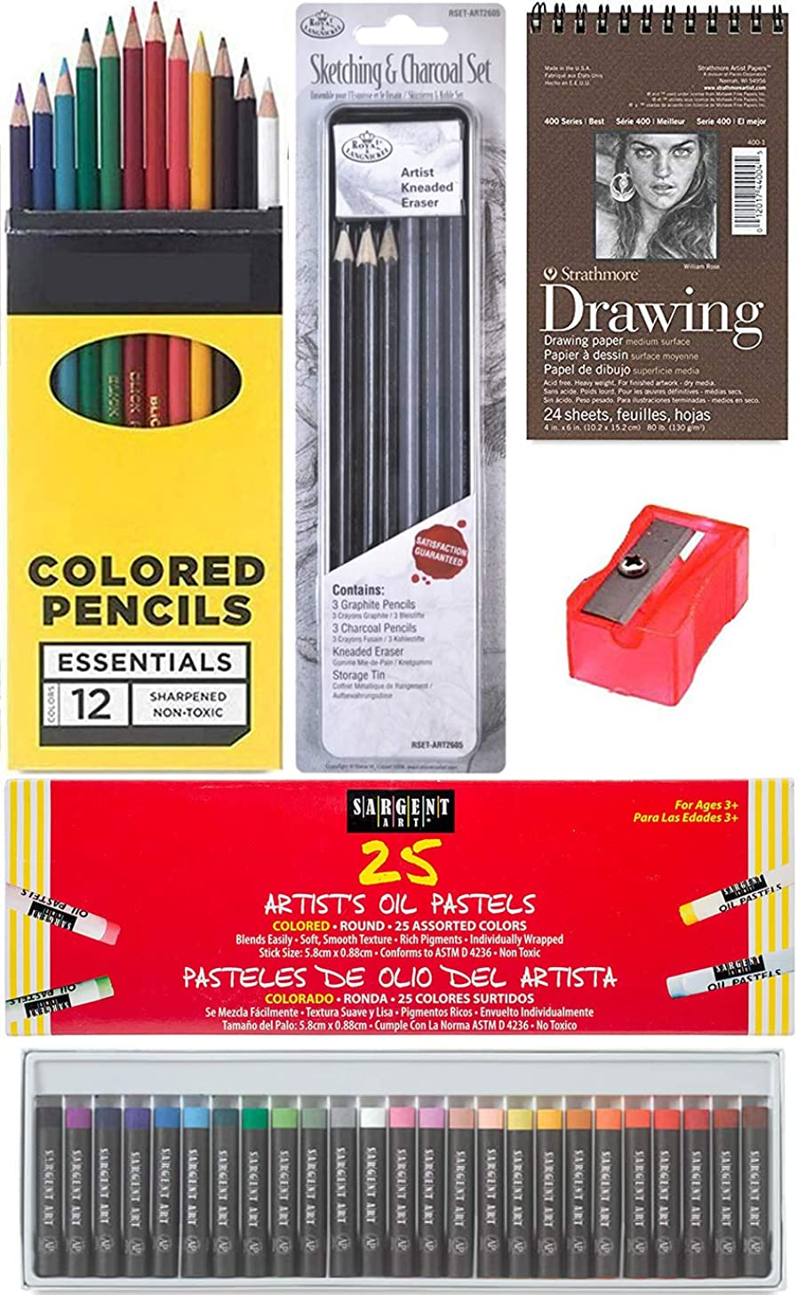 Color & Charcoal & Pastels Drawing Studio Sketching Pack/Colored Pencils Box/Eraser/Pad/Graphite / 25 Oil Colors + Sharpener Artist tin Creative Bundle