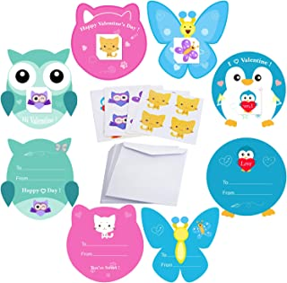 AOSTAR Valentines Cards for Kids 32 Pack - Temporary Tattoos and Envelopes - Valentines Day Greeting Cards - Classroom Exchange & Party Favor