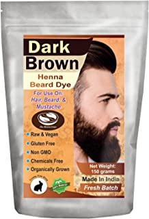 1 Pack of Dark Brown Henna Beard Dye for Men - 100% Natural & Chemical Free Dye for Hair, Beard & Mustache - The Henna Guys