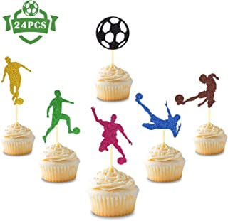 24 Pcs Soccer Ball Cupcake Toppers Football Sport Themed for Boys Girls Kids Baby Shower Birthday Party Supplies Glitter Cake Decorations