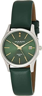 Akribos XXIV Women's AK879GN Diamond Accented Stainless Steel Leather Strap Watch