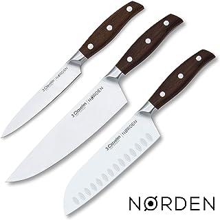 3 Claveles - Juego de 3 Cuchillos Profesionales en Acero Inoxidable Gama Norden, Selección Master Chef