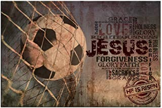 LevvArts - Sport Canvas Wall Art Soccer with Jesus Christ Quotes Poster Prints Vintage Painting for Living Room Bedroom Gym Decorations Stretched and Framed Ready to Hang