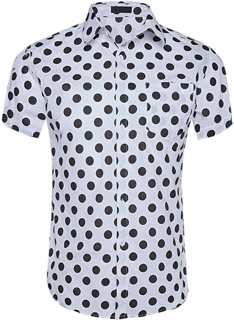 CATERTO Men's Premium Print Casual Shirt Short Sleeve Cotton Shirts