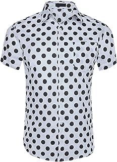 CATERTO Men's Premium Polka Dot Print Casual Shirt Short Sleeve Cotton Shirts