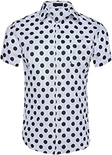 CATERTO Men's Premium Polka Dot Print Casual Shirt Short Sleeve Cotton Shirts