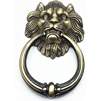 Parijat Handicraft 5 5 Brass Lion Head Door Knocker Home Brass Door Knocker Antique Door Knocker Lion Head Door Handle Amazon Com