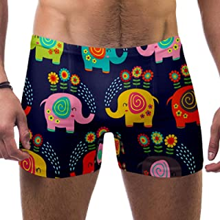 Bennigiry Elephant Watering Flowers Cartoon Men's Swim Trunk Square Leg Underwear Short Board Swimsuit Jammer Brief, S