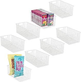 mDesign Juego de 8 cestas organizadoras Multiusos – Cajas de almacenaje Altas con Asas – Cestos metálicos compactos de Ala...